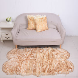 3 Piece Set - Long Pile Faux Fur Rug (100x180cm) with 2 Sofa Cushion Covers (45x45cm-2Pcs) - Beige