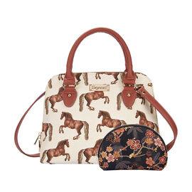 Signare Tapestry V&A Flower Meadow Collection - Top Handle Handbag with Adjustable Shoulder Strap