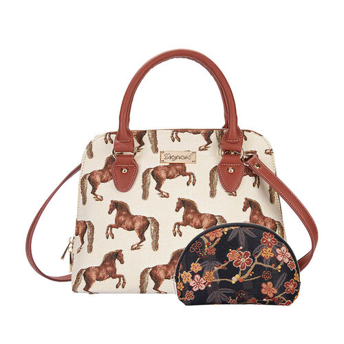 Signare Tapestry Whistlejacket Collection - Top Handle Handbag with Adjustable Shoulder Strap