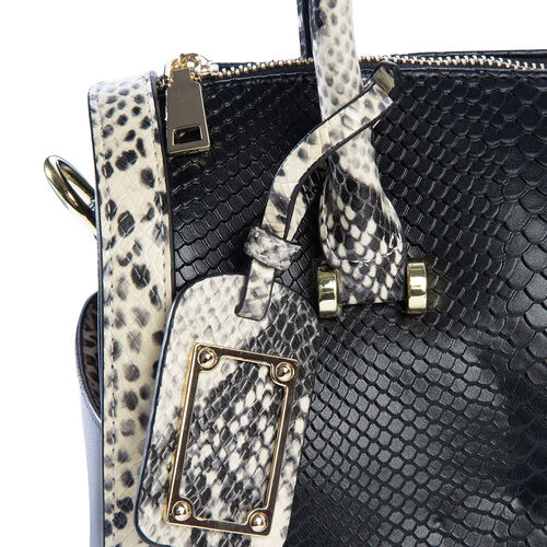 Close Out Deal 100% Genuine Leather Black Colour Snake Pattern Tote Bag with Removable Shoulder Strap (Size 30x25x12.5 Cm)