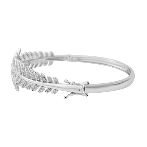 ELANZA Simulated Diamond (Rnd) Bangle (Size 7.5) in Rhodium Overlay Sterling Silver, Silver wt 21.39 Gms