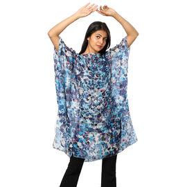 100% Mulberry Silk Digital Printed Kaftan in Blue (Size 95X90 CM)