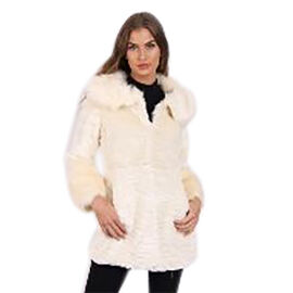 Faux Fur Suede Shearling Style Cream Colour Coat (Size L)