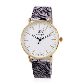 STRADA Japanese Movement Water Resistant Watch with Tiger Skin Pattern Mesh Chain Strap