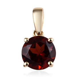 9K Yellow Gold AA Mozambique Garnet (Rnd) Solitaire Pendant 1.000 Ct.