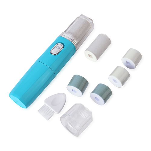 Beauty Tools - Turquoise Colour Electronic Polishing Tool for Nails and Fingers with Filling Head, Buffing Head, Polish Head, Cleaning Brush and Callus Remover with Extra and Regular Coarse