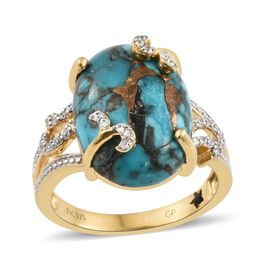 GP Mojave Blue Turquoise (Ovl 11.50 Ct), Natural Cambodian Zircon and Kanchanaburi Blue Sapphire Ring in Platinum and Yellow Gold Overlay Sterling Silver 11.750 Ct.