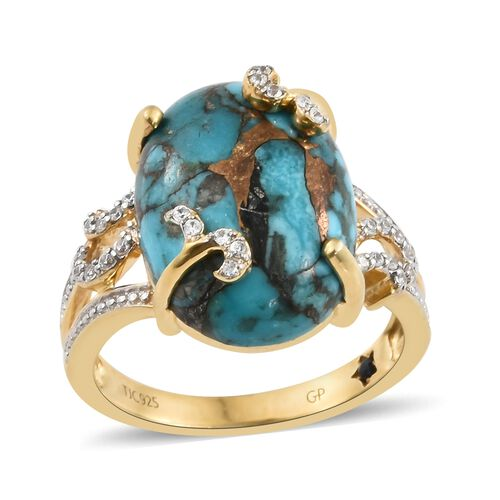 GP Mojave Blue Turquoise (Ovl 11.50 Ct), Natural Cambodian Zircon and Kanchanaburi Blue Sapphire Rin