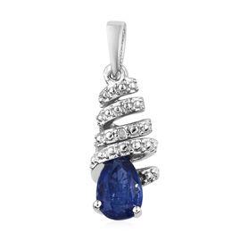 Kashmir Blue Kyanite (Pear), Diamond Pendant in Platinum Overlay Sterling Silver 1.009 Ct.