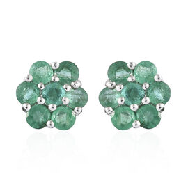 Kagem Zambian Emerald (Rnd) Stud Earrings (with Push Back) in Platinum Overlay Sterling Silver 1.500 Ct.