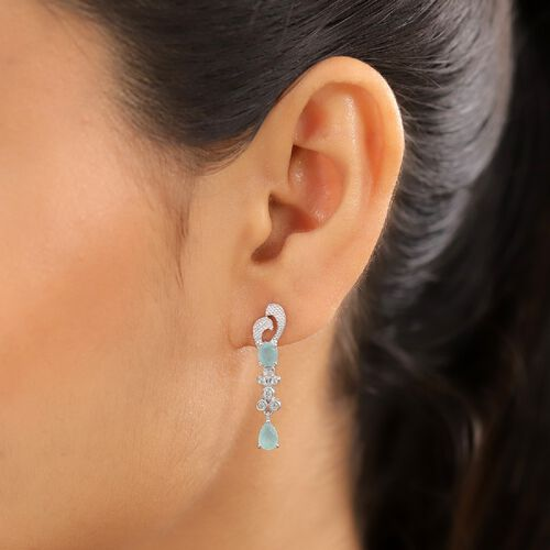 Grandidierite and Natural Cambodian Zircon Dangling Earrings (With Push Back) in Platinum Overlay Sterling Silver 1.57 Ct.