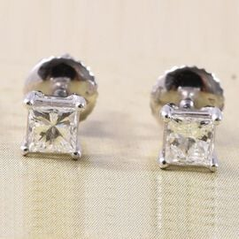RHAPSODY 0.50 Ct Diamond Stud Solitaire Earrings in 950 Platinum IGI Certified VS EF