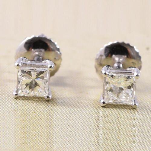 RHAPSODY 0.50 Ct Diamond Stud Solitaire Earrings in 950 Platinum IGI Certified VS EF