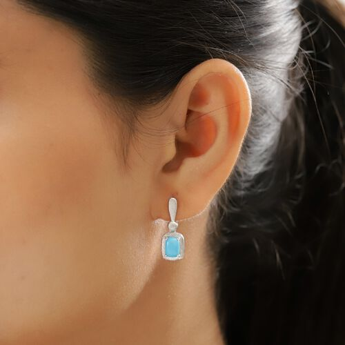 Arizona Sleeping Beauty Turquoise (Cush) Drop Earrings (with Push Back) in Platinum Overlay Sterling Silver 1.50 Ct.