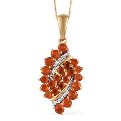 WEBEX- Jalisco Fire Opal (Rnd), Natural Cambodian Zircon Bubbales Pendant (with Chain) in 14K Gold Overlay Sterling Silver 1.250  Ct.
