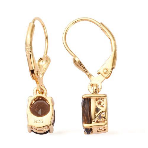 AA Brazilian Smoky Quartz (Ovl) Lever Back Earrings in 14K Gold Overlay Sterling Silver 2.250 Ct.