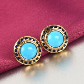 Arizona Sleeping Beauty Turquoise Stud Earrings (with Push Back) in 14K Gold Overlay Sterling Silver 2.500 Ct.