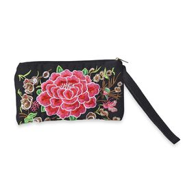 Embroidered Floral and Squirrel Pattern Clutch Bag with Zipper Closure (Size 18.5x10 Cm) - Multi
