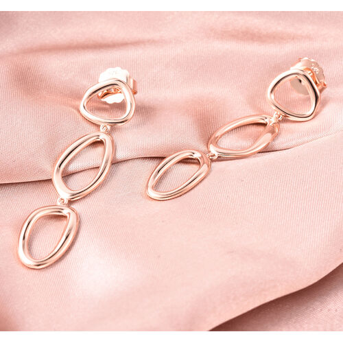 LucyQ Fluid Design Dangle Earrings in Rose Gold Plated Sterling Silver