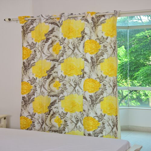 Yellow, Cream and Multi Colour Floral Pattern Double Side Curtain (Size 230X167 Cm)