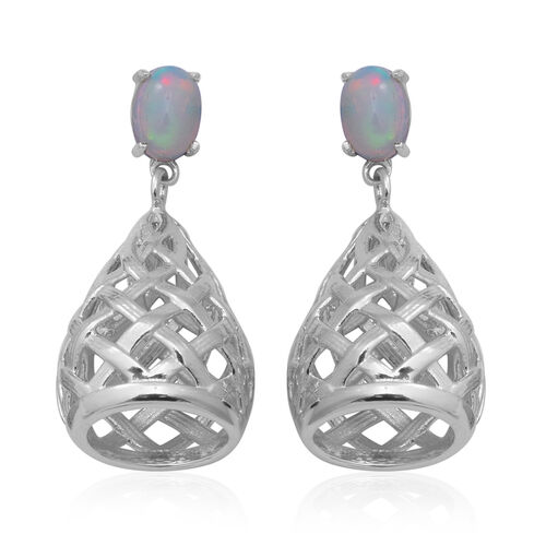 Ethiopian Welo Opal Drop Earrings in Rhodium Overlay Sterling Silver 1.05 Ct, Silver wt 7.40 Gms
