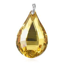 Simulated Yellow Sapphire Drop Pendant in Rhodium Overlay Sterling Silver