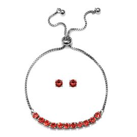 J Francis - 2 Piece Set - Crystal From Swarovski Padparasha Crystal (Rnd) Adjustable Bolo Bracelet (