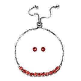 J Francis - 2 Piece Set - Crystal From Swarovski Padparasha Crystal (Rnd) Adjustable Bolo Bracelet (
