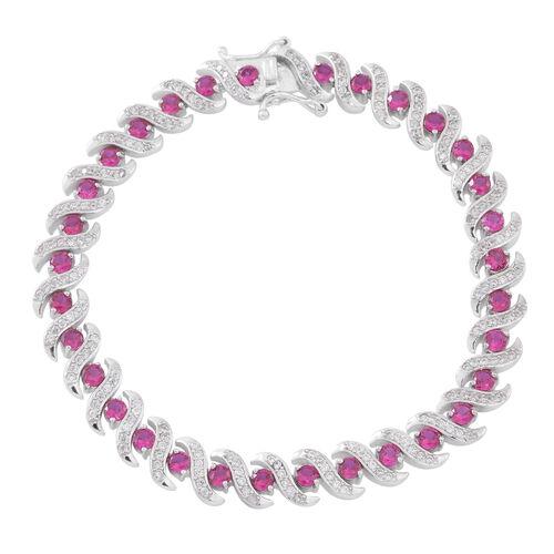 Limited Edtition-ELANZA Simulated Pink Sapphire (Rnd), Simulated White Diamond Bracelet (Size 7.5) i