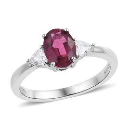 RHAPSODY 950 Platinum AAAA Ouro Fino Rubelite (Ovl), Diamond (VS/E-F) 3 Stone Ring 1.550 Ct.