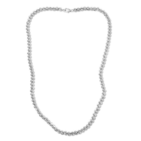 Beaded Necklace in Platinum Plated Sterling Silver 15.50 Grams 20 Inch
