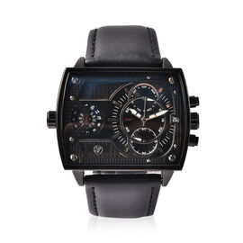 GENOA Two Movement Multi Function Black Dial Watch with Genuine Black Leather Strap