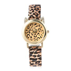 STRADA Japanese Movement  Water Resistance White Austrian Crystal Studded Watch with Leopard Pattern