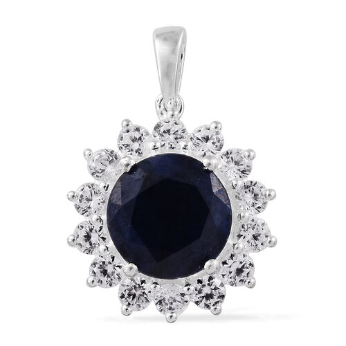 Limited Edition- Kanchanaburi Blue Sapphire (Rnd 6.20 Ct), Natural Cambodian Zircon Pendant in Sterling Silver 8.500 Ct.