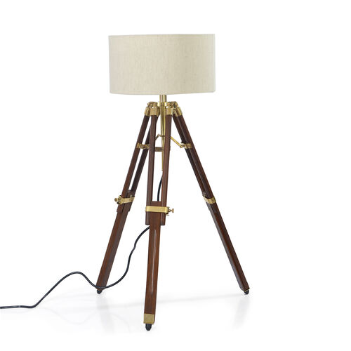 Individually Hand Crafted-Natural Teak Wood Tripod Lamp (81 cm) with Stainless Steel Elements and Br