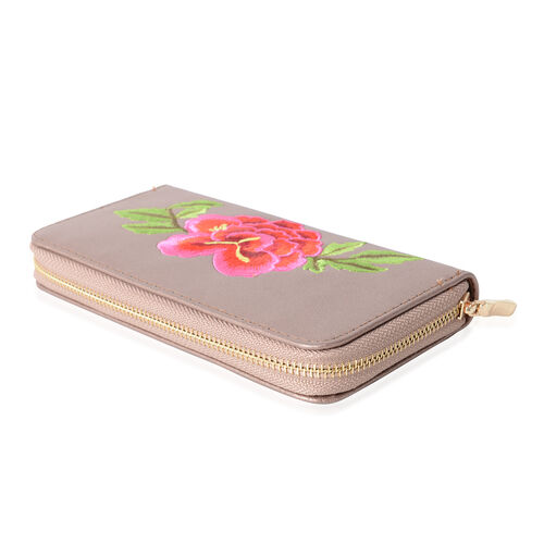 Bronze with Glitters with Embroidered Red and Fuchsia Flower and Green Leaves RFID Wallet ( 19x10x2.5cm  Large size phone can fit in )