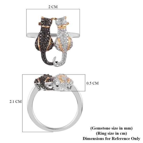 White and Black Diamond Twin Cat Ring in Platinum and Yellow Gold Overlay and Black Plating Sterling Silver