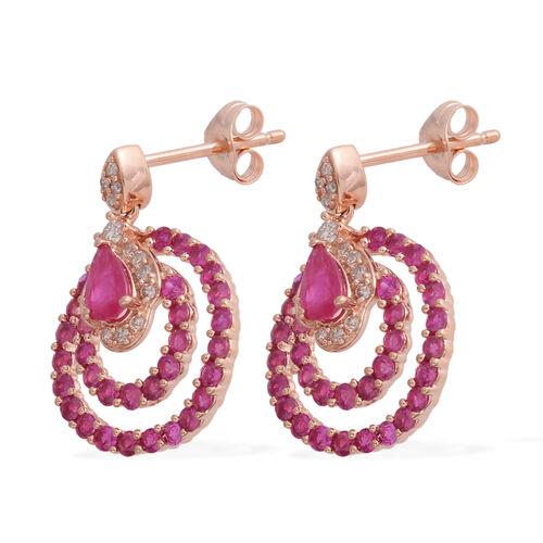14K Rose Gold AAA Burmese Ruby (Pear), Diamond (G-H/I1-I2) Earrings (with Push Back) 2.010 Ct. Gold wt 3.09 Gms