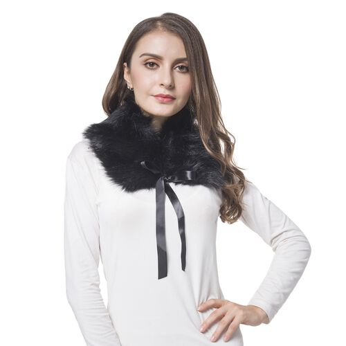 Black Colour Faux Fur Collar Scarf (Size 52X14 Cm)