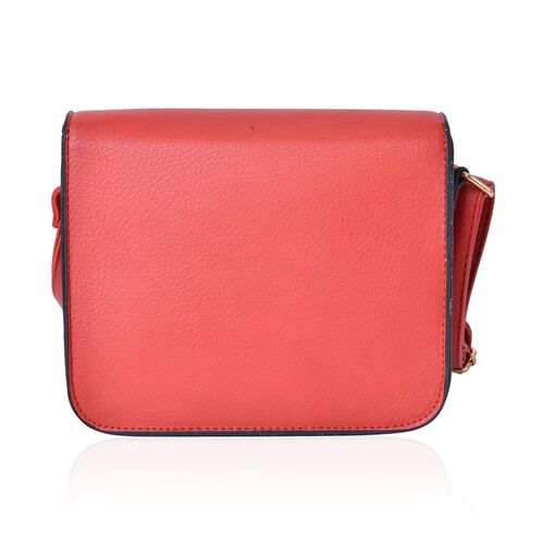 Red Colour Crossbody Bag with Swing Lock Closure and Adjustable Shoulder Strap (Size 19.5X17X6.5 Cm)