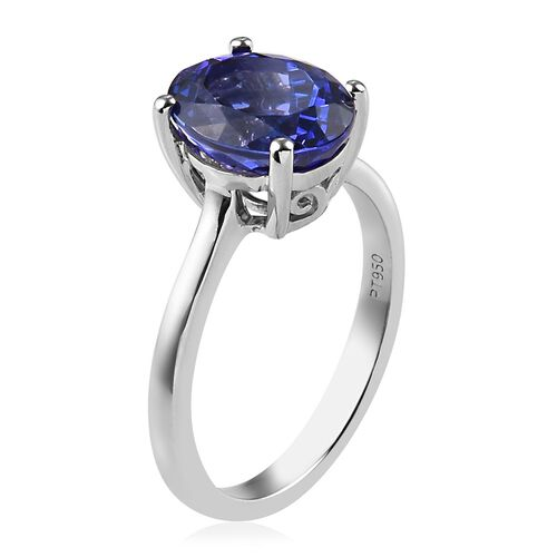 Signature Collection 950 Platinum AAAA Tanzanite Solitaire Ring 3.50 Ct, Platinum wt. 5.00 Gms