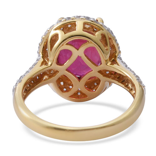African Ruby (Ovl 6.75 Ct), Natural White Cambodian Zircon Ring in 14K Gold Overlay Sterling Silver 8.500 Ct.