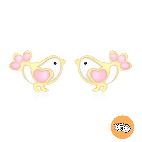 Children Bird Stud Earrings in 9K Yellow Gold
