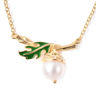 White Edison Pearl and Natural Cambodian Zircon Enamelled Necklace (Size 18) in Yellow Gold Overlay