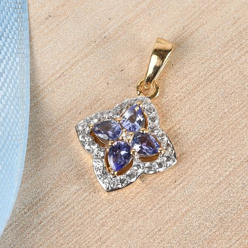 Tanzanite and Natural Cambodian Zircon Pendant in 14K Gold Overlay Sterling Silver 1.11 Ct.