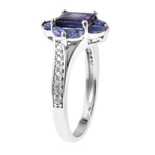 Isabella Liu Floral Collection - Masoala Sapphire and Natural Cambodian Zircon Ring in Rhodium Overlay Sterling Silver
