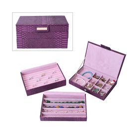 3 Layer Stacker Jewellery Box with Light Pink Velvet Dust Cover on the Second and Third Layer (Size