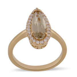 ILIANA 18K Yellow Gold Turkizite and Diamond Ring - Pear Cut - 2.01 Ct, Gold Wt. 4.17 Gms