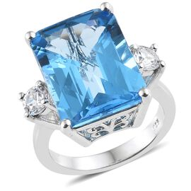 WEBEX- Electric Blue Topaz (Oct 13.75 Ct), Natural Cambodian Zircon Ring in Platinum Overlay Sterling Silver 14.500 Ct, Silver wt. 4.67 Gms.
