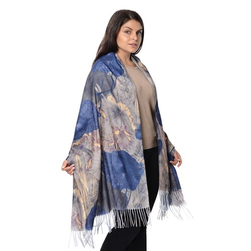 Winter Reversible Digital Printed Lotus Pattern Scarf with Tassel (Size 70x180 Cm) - Grey and Navy
